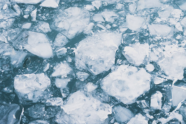 eau gelée froid bain